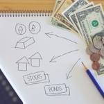 投資計画を書いたノート、ドル札、電卓