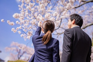 桜を指さす男女